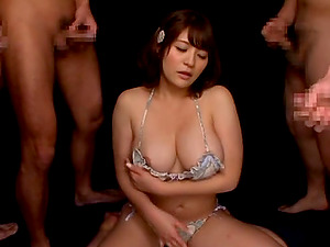 Big-titted cougar Meguri thumbs her Asian cunt in front of many fellows