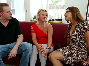 Gorgeous Cougars In Glasses Pounded With One Hard-on In Threesome Scene