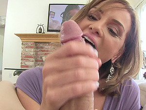 Cougar in miniskirt gives BJ and handjob in Point of view to stud with big dick