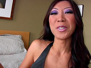 Asian Cougar sucking big manstick in Interracial Point of view then gets jizz in mouth
