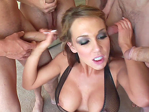 Numerous guys orally group sex this chick and douche her with jizz