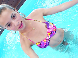 Pretty Youthful Shemale With A Hot Bod Masturbating In Her Swimming Pool