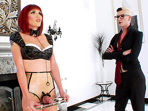 Tranny Stunner Fisted By Shemale Lovemaking Master In Spandex Fetish