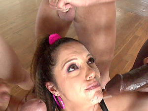 Francesca Le Receives A Hot Mass ejaculation In A Hard-core Pornography Group sex