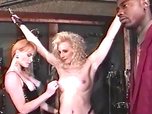 Two insatiable blondie skanks share a Big black cock in reality vid