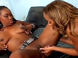 Dark-hued Girly-girl In Stockings Shrieking While Her Labia Is Drilled With Fucktoys