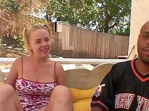 Lewd blonde, Missy Monroe, gets sandwiched in interracial MMF clip