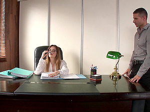 Attractive Cowgirl In Glasses Getting Smashed At The Office