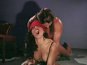 Eyes covered Black-haired Slammed Doggystyle After Deepthroat