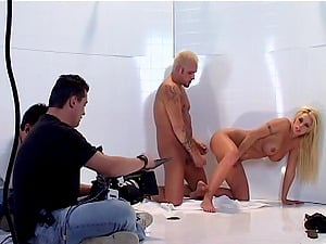 Horny Police Feeds On Blonde In Cut-offs And Stockings