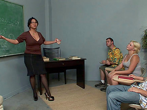 Hot Mummy Professor Commenced A Kinky Threesome Banging