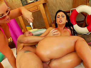 Xxx pool fetish fuck scene with two hot honeypots and a massive man rod