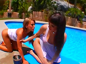Lustful lesbos plaything poopers on the poolside in xxx clip