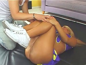 Shapely Cheerleader In Miniskirt Lovin? Her Smooth-shaven Twat Being Smashed