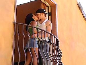 Christian Wilde Fucks Ruby Hard-core Doggystyle In The Balcony
