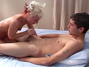 Tasia sucking spunk from dick after getting banged in MMF threesome