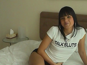 Nasty chick Sasha Bangs thumbs her cootchie and fucktoys it