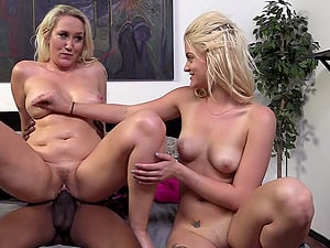 Lewd blondes Alana Evans and Miss Dallas share Isiah Maxwell's Big black cock