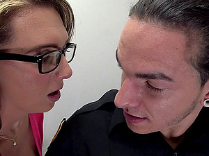 Blonde With Puny Tits In Glasses Awarding Her Man Tit banging
