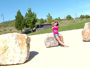 Hungarian dark haired chick Abbie Cat gets pounded in the butt in public