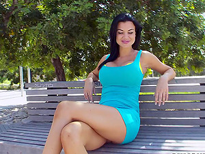 Jasmin Jae takes thick penis for a hot outdoor deepthroat suck off