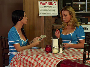 Blonde chick with big faux tits loving a hard-core fuck on a restaurant table