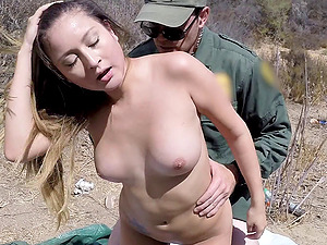 cowgirl with natural tits slammed in forest bang-out money-shot