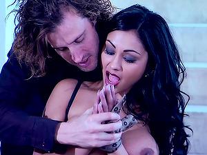 Priya Rai's big faux tits jiggle as she rails this boner