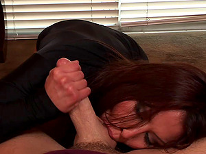 Black-haired in undies performs excellent blowage then pinned in Point of view clip