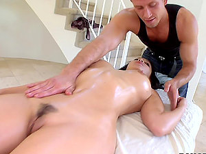 Big-chested Asian Gets Cocked During Sexy Naked Rubdown.