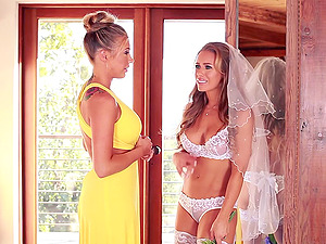 Bride wearing stockings goes lesbo with her bridesmaid