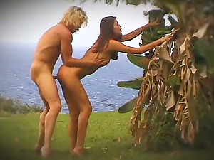 Angelic brown-haired with big tits getting her shaven vulva pounded hard-core outdoor
