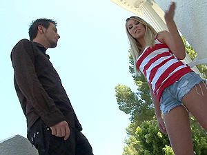 Slender blonde, Brynn Tyler, blows and gets her cootchie banged hard