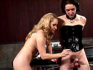Ardent blonde superstar with big tits delivering a ball busting torment to an enslaved dude in Domination & submission