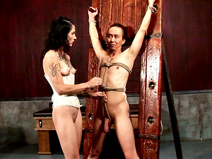 Tied up Asian bore gets whipped in hard-core ball busting scene