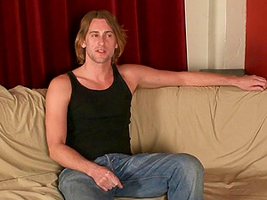 Homosexual stud carter Rail jerking off his dick on the couch