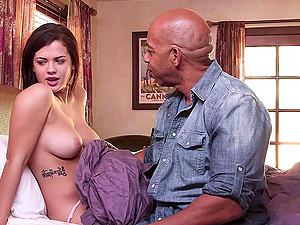 Keisha Grey caresses a fat black boner and takes it in her sleek snatch