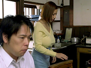 Big-breasted Japanese mummy favours a man with a tit-fucking