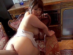 Mature Asian cowgirl gets jizm on her big tits after providing a spicy oral job