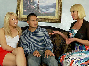 Fantastic blonde mummies in high high-heeled slippers sharing a man sausage in a hot ffm threesome