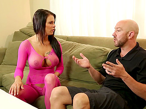 A hot huge-titted masseuse uses her forearms, mouth and cootchie to unwind him