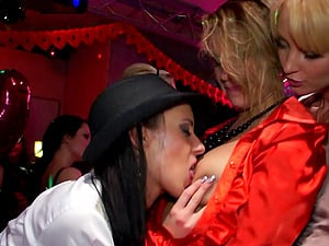 Vulva finger-tickling and xxx group banging with hot bi-atch pornography chicks in activity