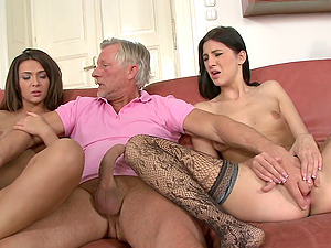 Sexy and lovely porno black-haired sweeties treats hard-on a hot and nasty oral pleasure