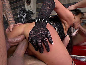 Tattooed damsel in fishnet stockings being pounded in a thrilling gang-fuck