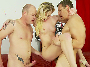 Tattooed blonde with petite tits liking a hard-core group sex