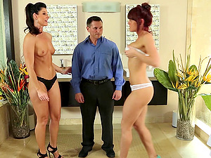 A duo of sweethearts gives a stud a nuru rubdown and fuck him