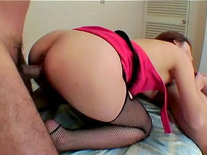 Asian honey gets fucked while sucking man sausage in MMF threesome