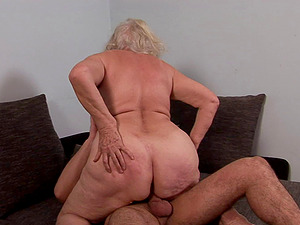 Horny granny with a hairy cootchie getting penetrated hard-core