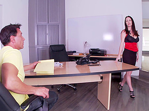 Charming brown-haired adult movie star with big tits likes office fuck-a-thon