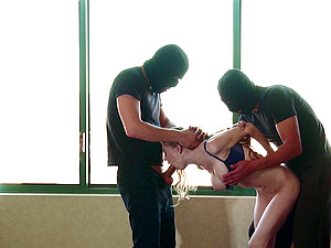 Two guys in masks tag team Sahwna Lenee and fuck her hard